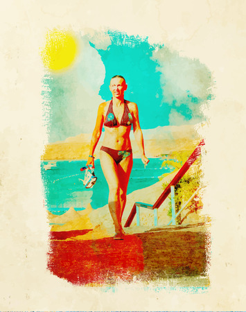 Woman after snorkeling holding a mask and snorkel. Retro style Poster background.