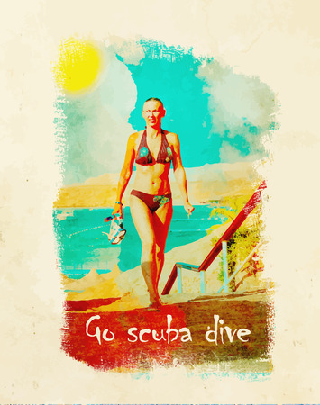 Young woman after snorkeling holding a mask and snorkel. Text Go Scuba dive. Retro style Poster background.