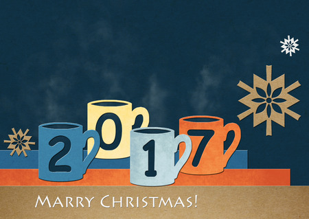 Christmas background. Colorful mugs with text 2017. Collage of colored cardboard.