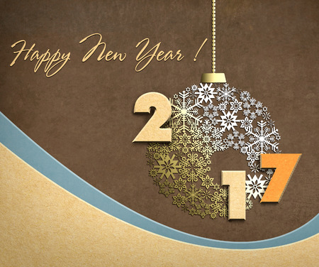 Happy new year 2017 creative design background with paper cuttings. Фото со стока