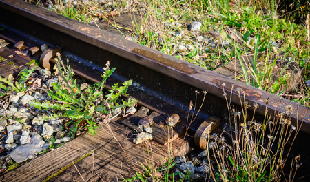 Detail of train rails, sleepers and fasteners.