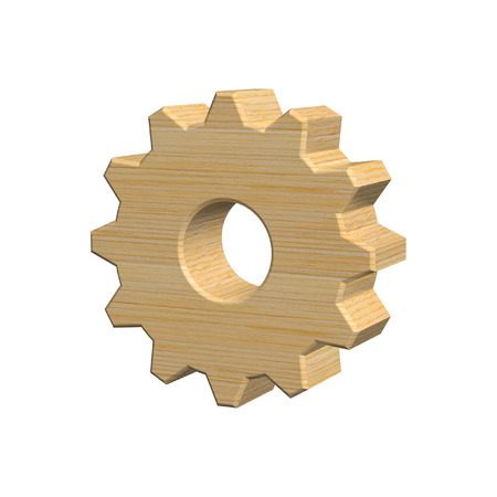 3D illustration, wooden gear isolated on white background