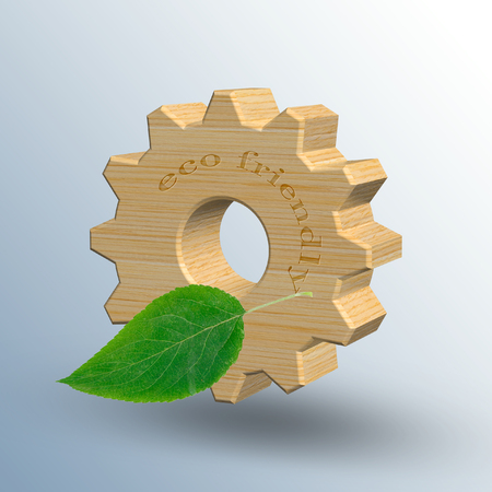 3D illustration, wooden gear with green leaves. Eco friendly manufacturing and industry. Stock Photo
