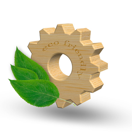 3D illustration, wooden gear with green leaves. Eco friendly products or environmental preservation