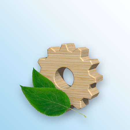3D illustration, wooden gear with green leaves. Environmentally friendly manufacturing and industry.