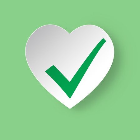 status: Healthy heart Status Icon. White heart with green check mark.