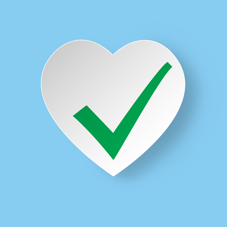status icon: Healthy heart Status Icon. White heart with green check mark.