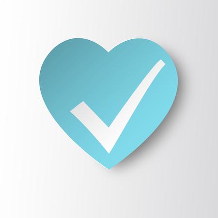 status icon: Healthy heart Status Icon. White heart with check mark.
