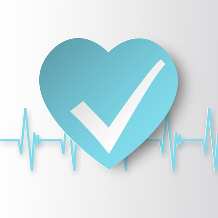 status: Healthy heart Icon. Heart with healthy status check mark and cardiogram.