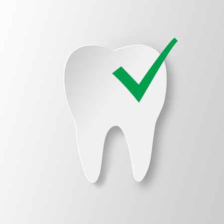 status icon: Healthy tooth Status infographic icon. White tooth with check mark.