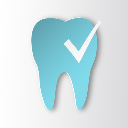 status icon: Healthy tooth Status infographic icon. Tooth with check mark.