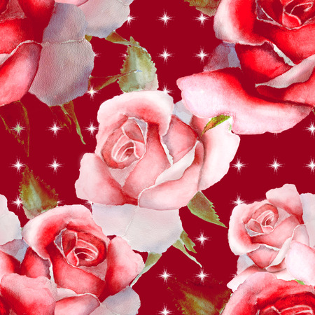 odor: Floral watercolor pattern with pink roses. Festive background