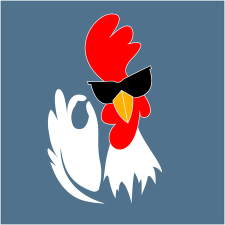 Rooster in sunglasses showing OK sign gesture. Cock. Chinese New Year 2017 symbol. Best chicken