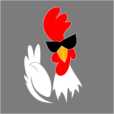 Rooster in sunglasses showing victory gesture. Cock. Chinese New Year 2017 symbol. Illustration
