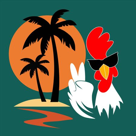 Christmas and New Year 2017, winter vacations and holidays. Rooster - Chinese New Year 2017 symbol