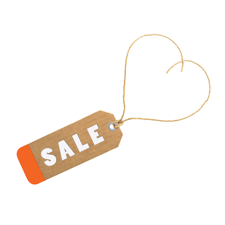 environmentalist tag: Sale tag concept with heart shape isolated on white. Stock Photo