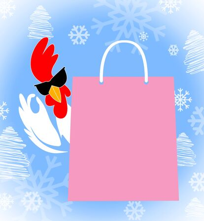 Shopping bag with the Rooster in sunglasses showing OK sign gesture. New Year 2017 symbol