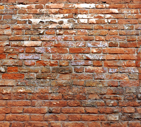 foundation cracks: Closeup of old red brick wall background. Vintage brickwork texture with space for text