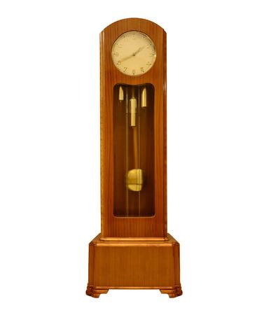 Vintage grandfather clock on white.