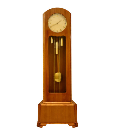 outworn: Vintage grandfather clock on white.
