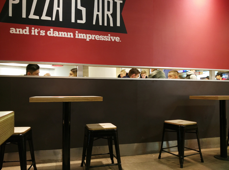 Moscow, Russia - February 08, 2017: interior of a KFC restaurant and Pizza Hut cafe in the city center.