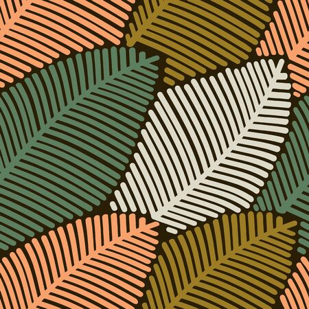 Seamless pattern of colored autumn stylized leaves