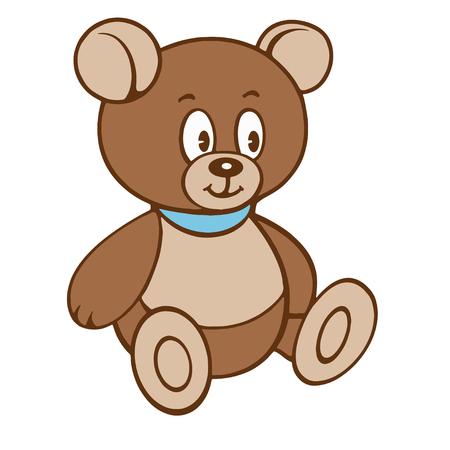 Cartoon teddy Bear. Vector illustration on a white background.