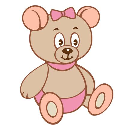 Cute cartoon teddy girl bear.