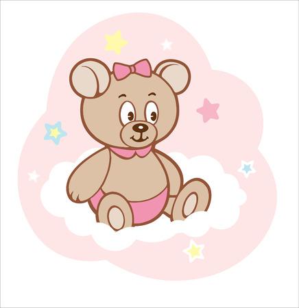 Cute cartoon teddy girl bear on white cloud