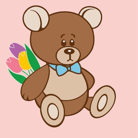 Teddy bear holding a bouquet of tulips Çizim