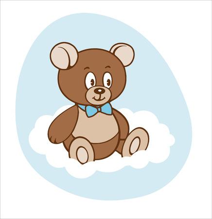 Cute cartoon teddy boy bear on white cloud Çizim