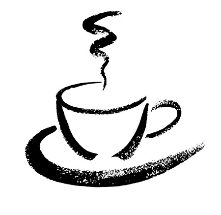 A cup of coffee. Hand drawn brush sketch. Vector illustration