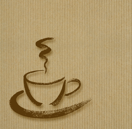 Coffee cup hand drawn brush sketch