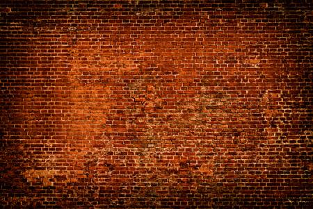 Old red Brick wall grunge background. Vintage old masonry