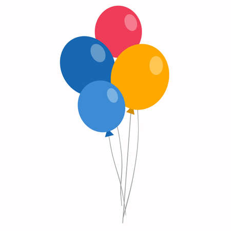 Colorful balloons in flat style isolated on white Çizim