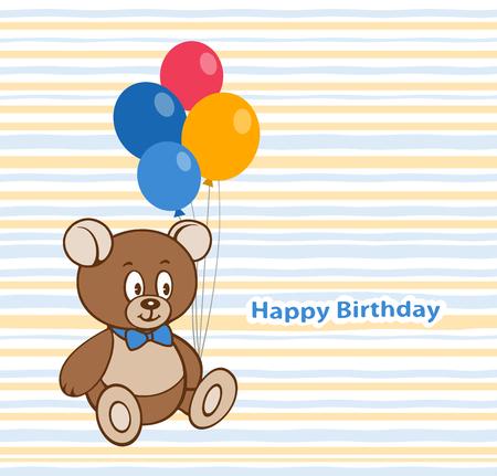 Birthday card design with a Cute Teddy bear and balloons