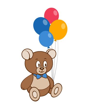 Cute cartoon bear and balloons