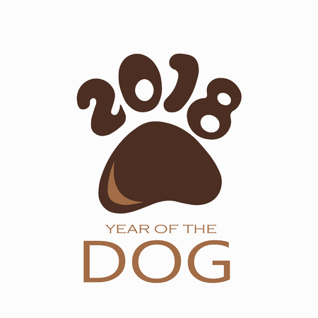 Chinese new year of the dog 2018 text design for logo, flyer, brochure, invitation, card