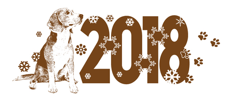Year of the Dog 2018 vector template for design