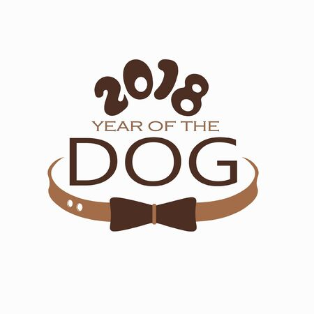 New year of the dog 2018 logo creative design