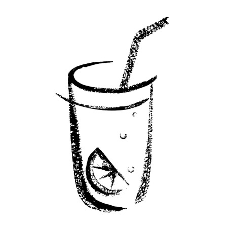 Cocktail sketch brush hand drawing. Vector illustration of cocktail in glass. Çizim