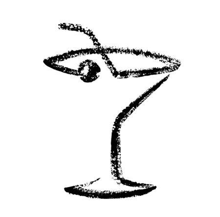 Cocktail sketch hand drawing. Vector illustration Çizim