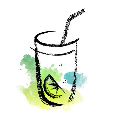 Sketch of cocktail glass on a watercolor splash background. Çizim