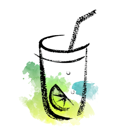 Sketch of cocktail glass on a watercolor splash background. Illustration