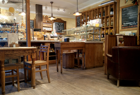 MOSCOW, RUSSIA - NOVEMBER 23, 2017: Cozy Cafe and bakery shop interior in the city center Publikacyjne