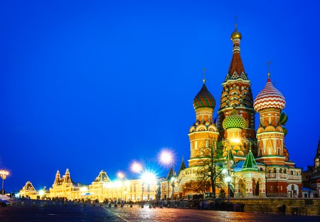 Moscow night view of Red Square and Saint Basil s Cathedral. Stock Photo