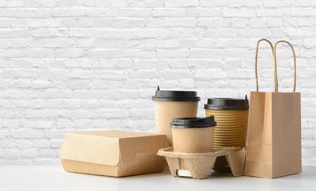 Fast food and drink packaging set 写真素材