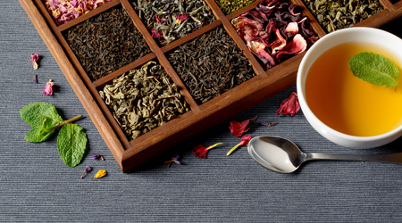 Dry tea assortment in wooden box
