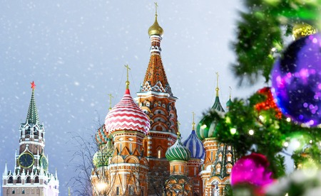 Christmas and New Year Decorations in Moscow Red square night view at snowfall