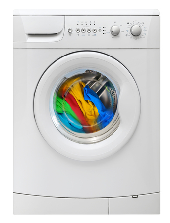 Washing machine with multicolored clothes isolated on white